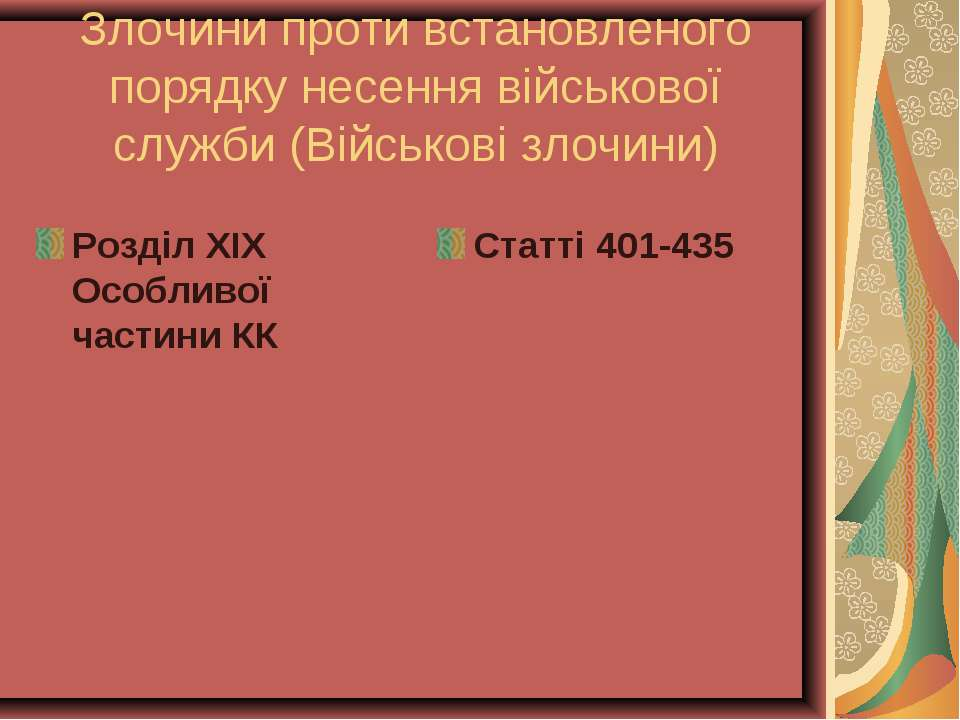 Злочини проти встановленого порядку несення військової служби (Військові злоч...