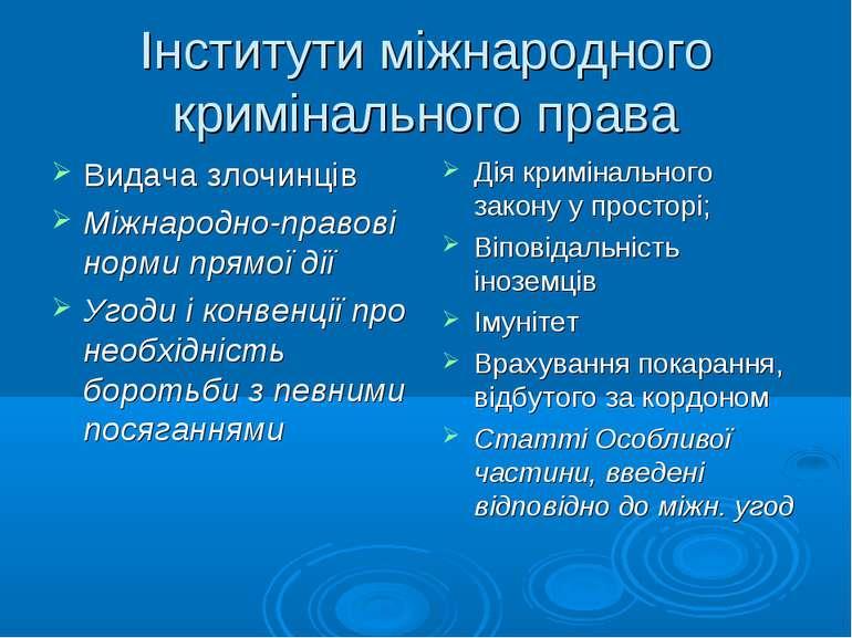 Інститути міжнародного кримінального права Видача злочинців Міжнародно-правов...