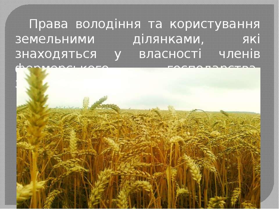Права володіння та користування земельними ділянками, які знаходяться у власн...