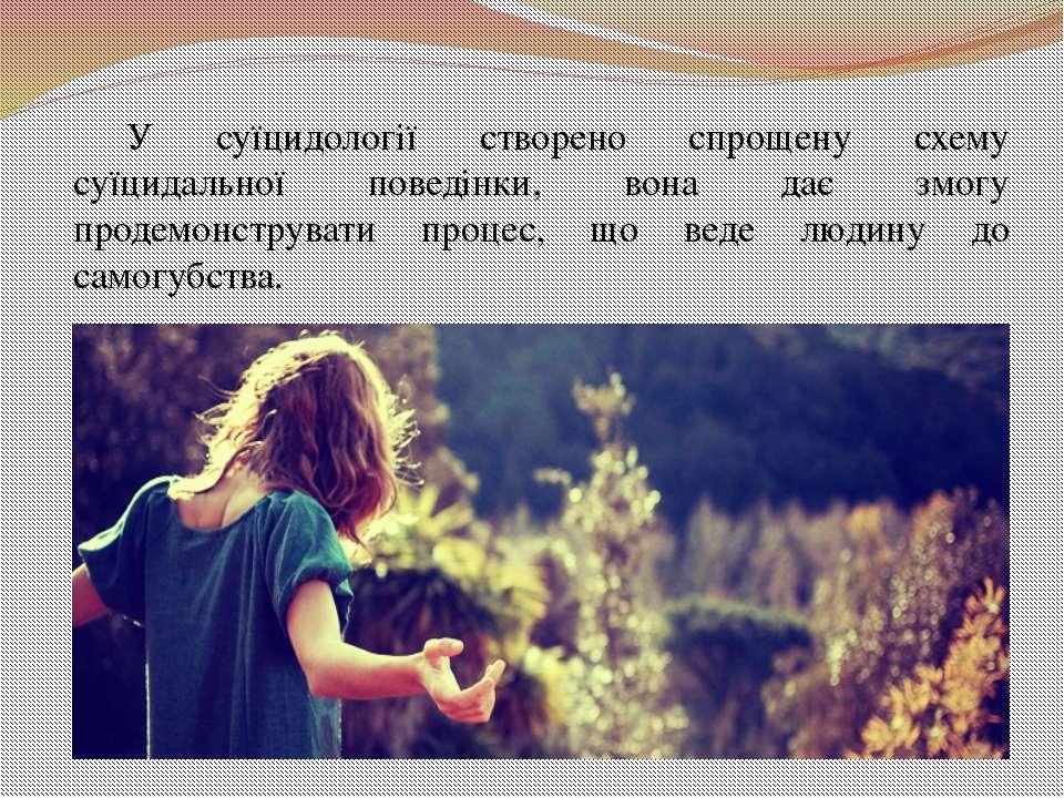 У суїцидології створено спрощену схему суїцидальної поведінки, вона дає змогу...