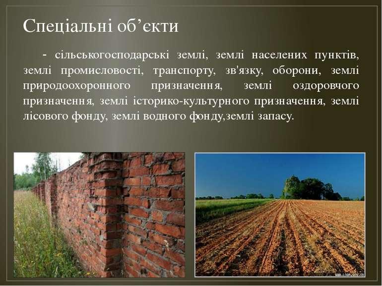 Спеціальні об'єкти - сільськогосподарські землі, землі населених пунктів, зем...