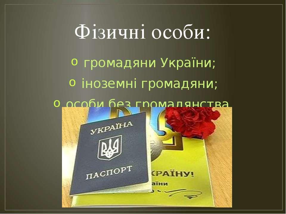 Фізичні особи: громадяни України; іноземні громадяни; особи без громадянства.