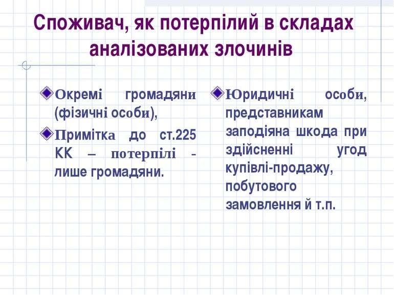 Споживач, як потерпілий в складах аналізованих злочинів Окремі громадяни (фіз...