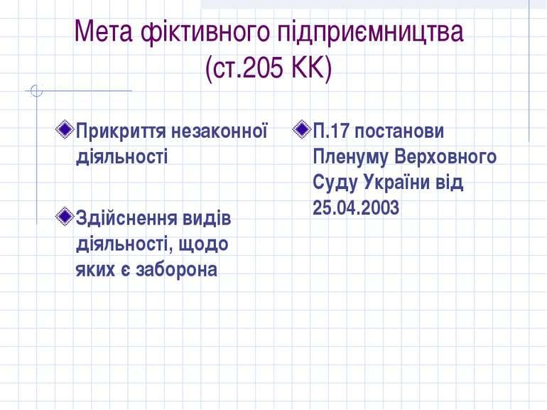 Мета фіктивного підприємництва (ст.205 КК) Прикриття незаконної діяльності Зд...