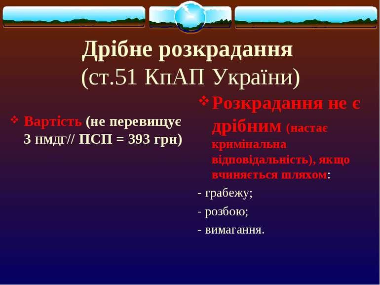Дрібне розкрадання (ст.51 КпАП України) Вартість (не перевищує 3 НМДГ// ПСП =...