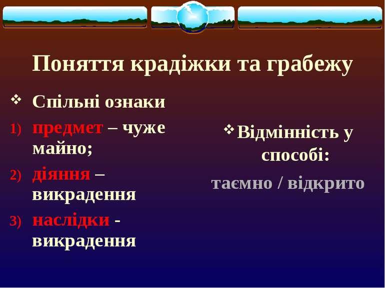 Поняття крадіжки та грабежу Спільні ознаки предмет – чуже майно; діяння – вик...