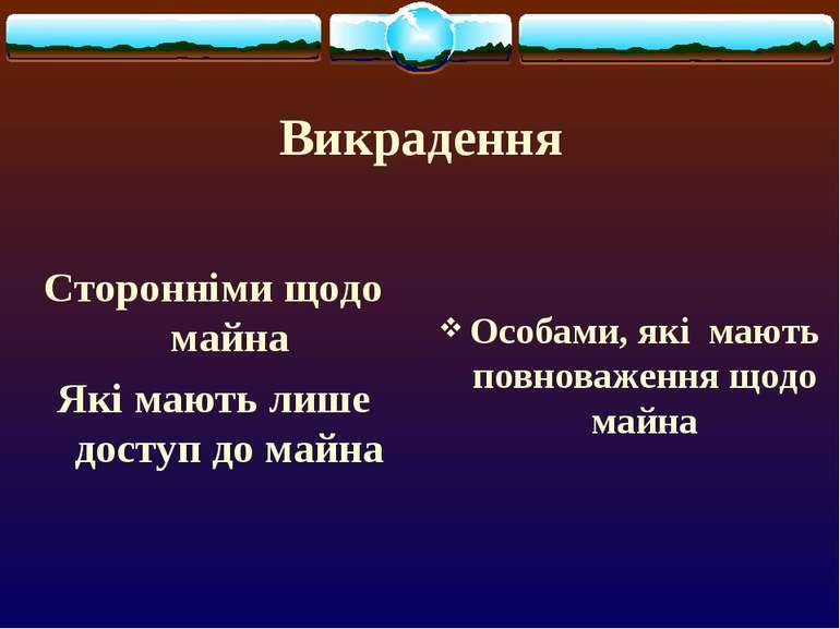 Викрадення Сторонніми щодо майна Які мають лише доступ до майна Особами, які ...