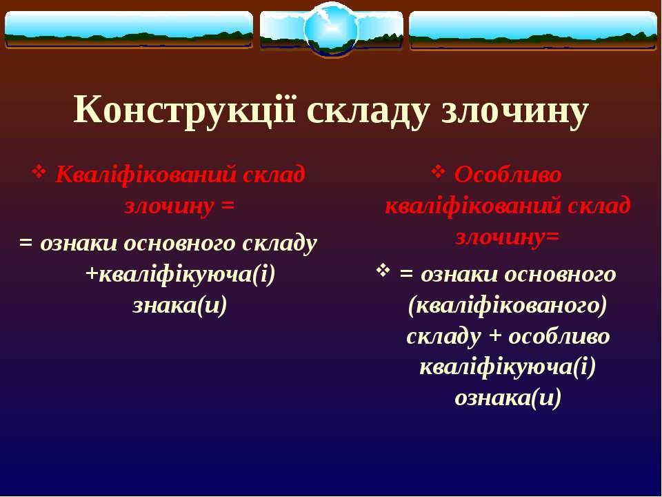 Конструкції складу злочину Кваліфікований склад злочину = = ознаки основного ...
