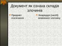 Документ як ознака складів злочинів Предмет посягання Знаряддя (засіб) вчинен...