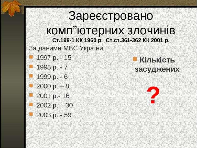 """Зареєстровано комп""""ютерних злочинів Ст.198-1 КК 1960 р. Ст.ст.361-362 КК 2001..."""