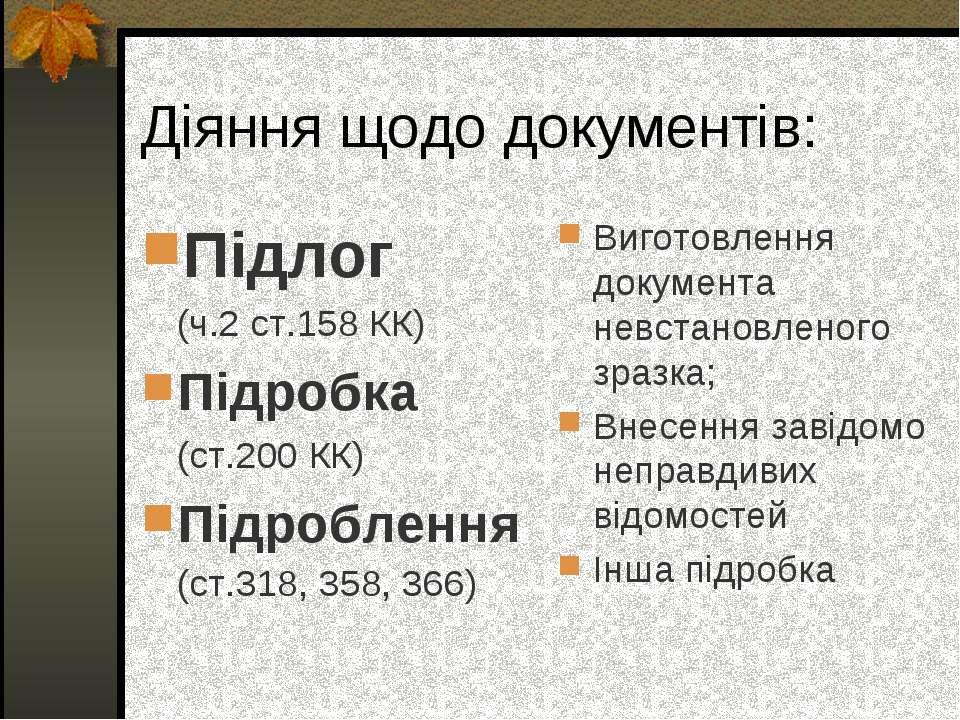 Діяння щодо документів: Підлог (ч.2 ст.158 КК) Підробка (ст.200 КК) Підроблен...