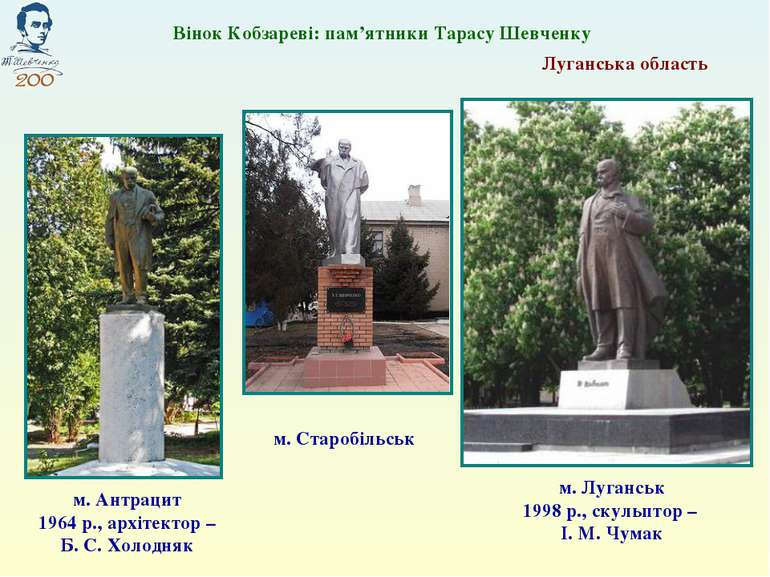 Луганська область м. Луганськ 1998 р., скульптор – І. М. Чумак Вінок Кобзарев...