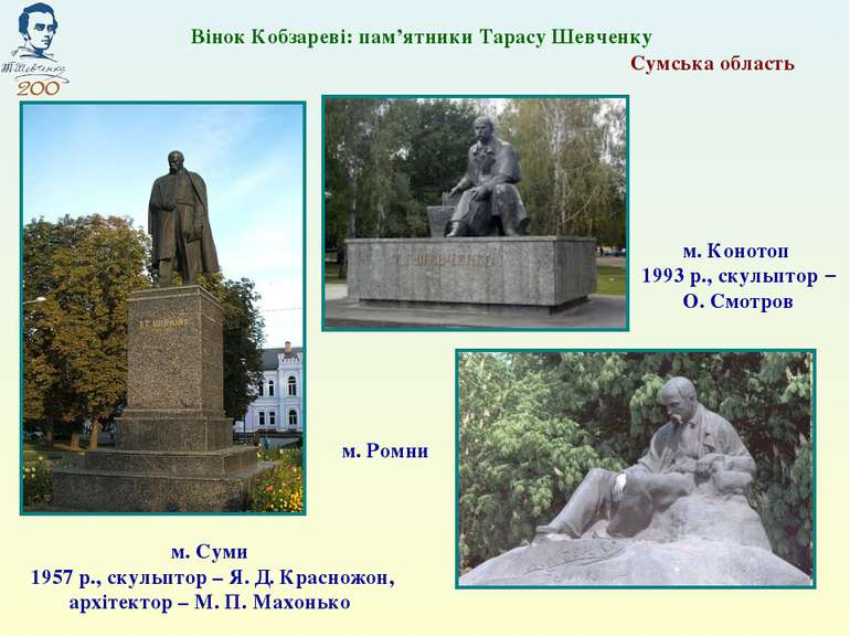 Сумська область м. Суми 1957 р., скульптор – Я. Д. Красножон, архітектор – М....