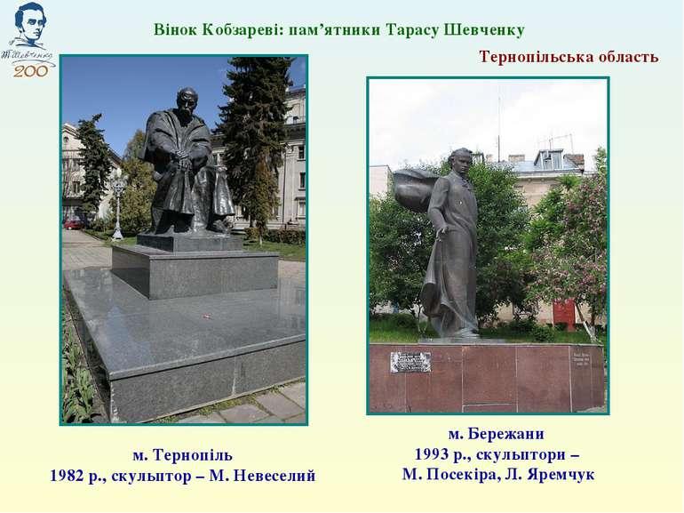 Вінок Кобзареві: пам'ятники Тарасу Шевченку м. Тернопіль 1982 р., скульптор –...
