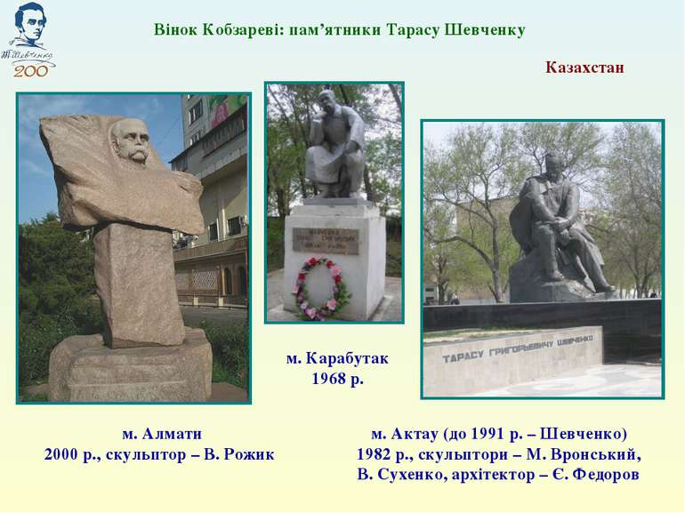 Казахстан м. Алмати 2000 р., скульптор – В. Рожик Вінок Кобзареві: пам'ятники...