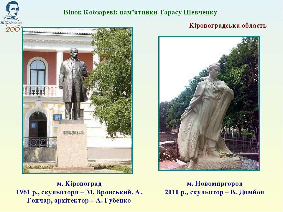 м. Кіровоград 1961 р., скульптори – М. Вронський, А. Гончар, архітектор – А. ...