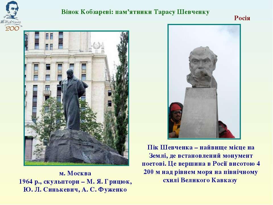 Росія м. Москва 1964 р., скульптори – М. Я. Грицюк, Ю. Л. Синькевич, А. С. Фу...