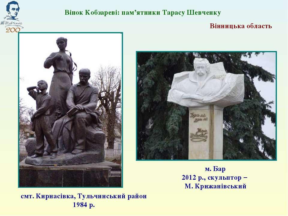 смт. Кирнасівка, Тульчинський район 1984 р. м. Бар 2012 р., скульптор – М. Кр...