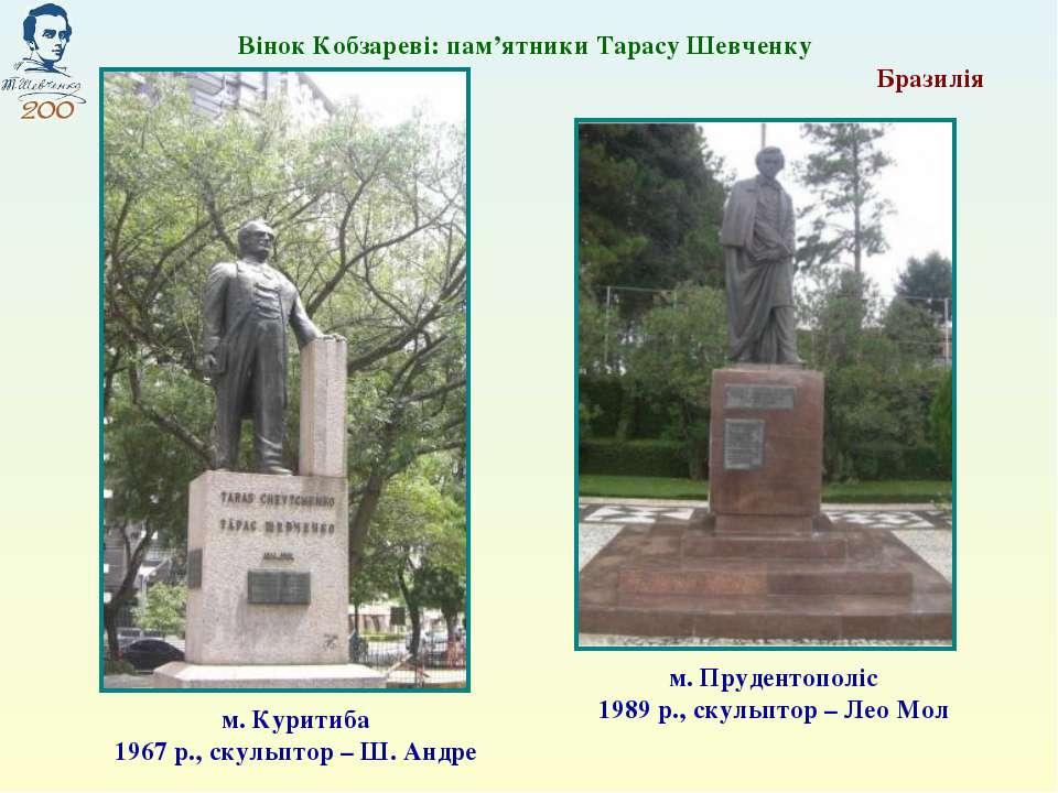 Вінок Кобзареві: пам'ятники Тарасу Шевченку Бразилія м. Прудентополіс 1989 р....