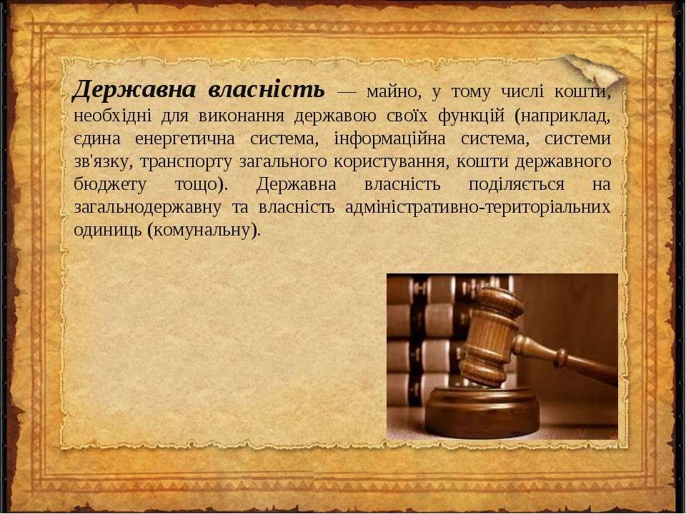 Державна власність — майно, у тому числі кошти, необхідні для виконання держа...
