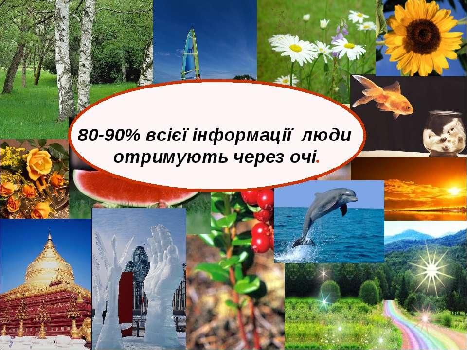 80-90% всієї інформації люди отримують через очі.