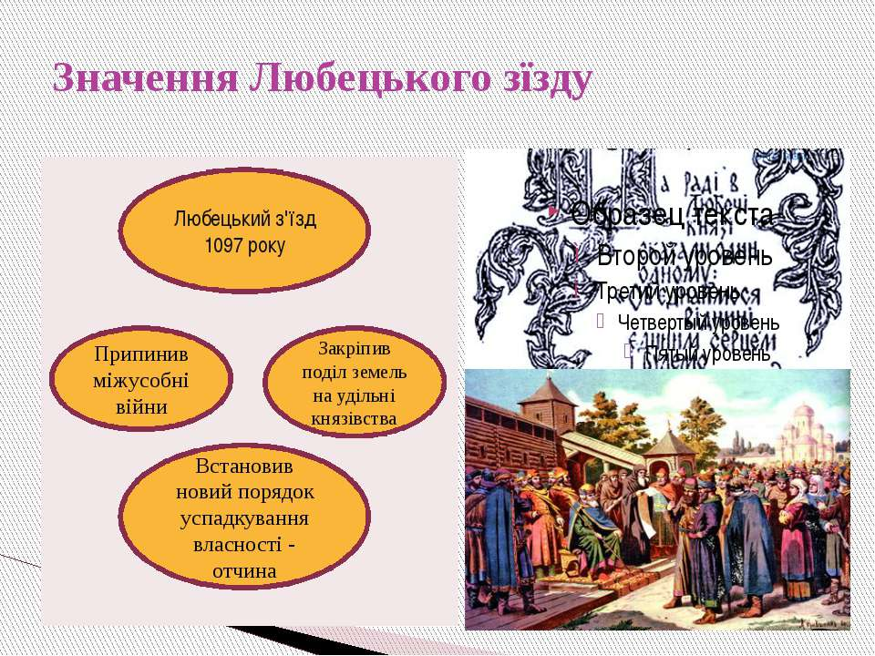 Значення Любецького зїзду Любецький з'їзд 1097 року Припинив міжусобні війни ...