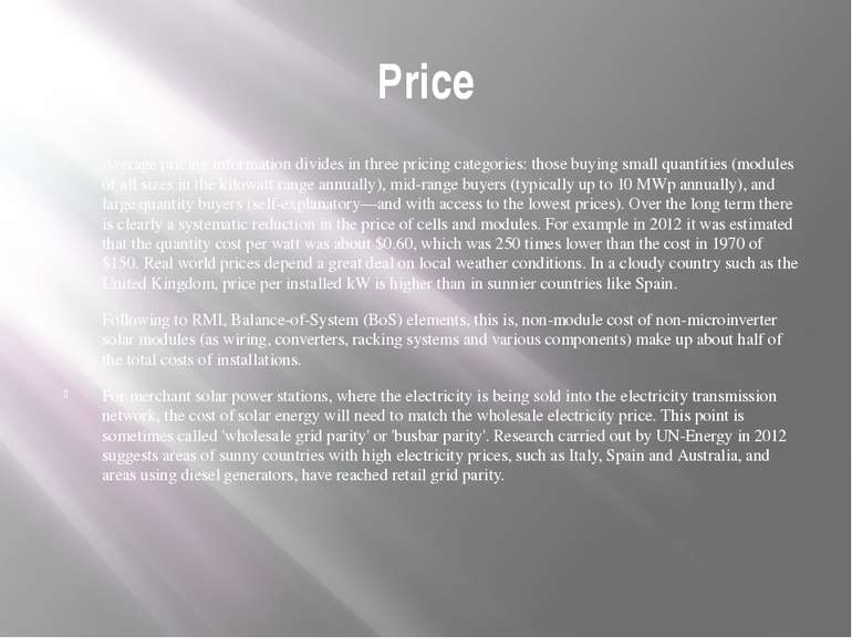 Price Average pricing information divides in three pricing categories: those ...