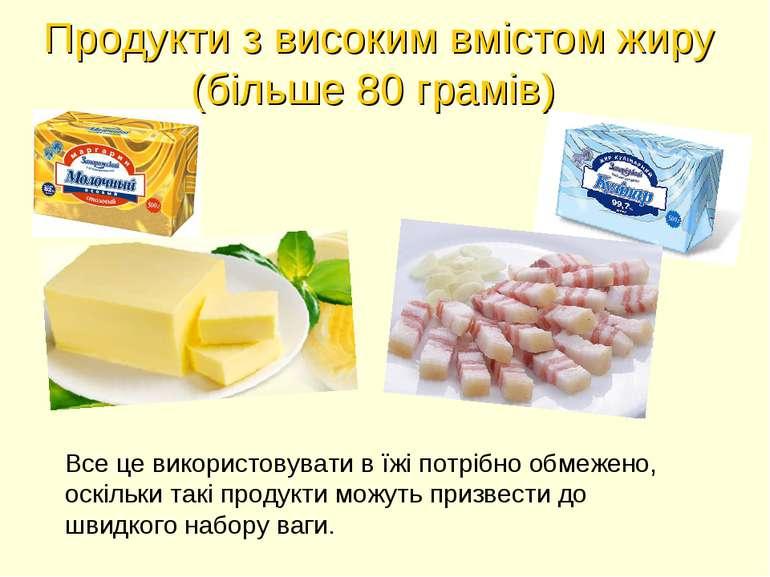 Продукти з високим вмістом жиру (більше 80 грамів) Все це використовувати в ї...