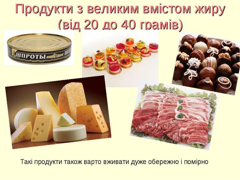 Продукти з великим вмістом жиру (від 20 до 40 грамів) Такі продукти також вар...