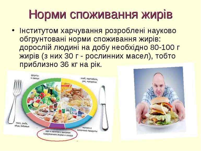 Норми споживання жирів Інститутом харчування розроблені науково обгрунтовані ...