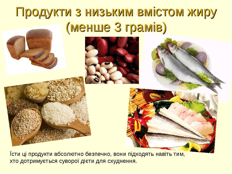 Продукти з низьким вмістом жиру (менше 3 грамів) Їсти ці продукти абсолютно б...