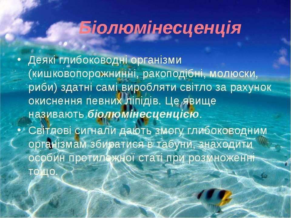 Біолюмінесценція Деякі глибоководні організми (кишковопорожнинні, ракоподібні...