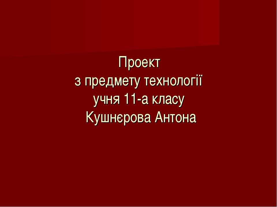 Проект з предмету технології учня 11-а класу Кушнєрова Антона