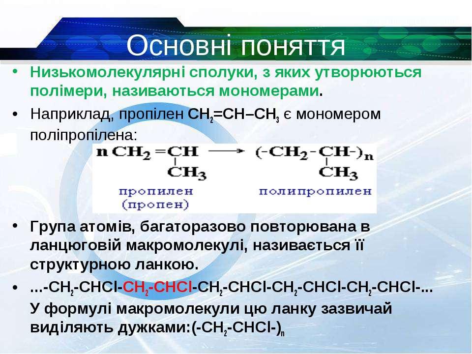 Основні поняття Низькомолекулярні сполуки, з яких утворюються полімери, назив...