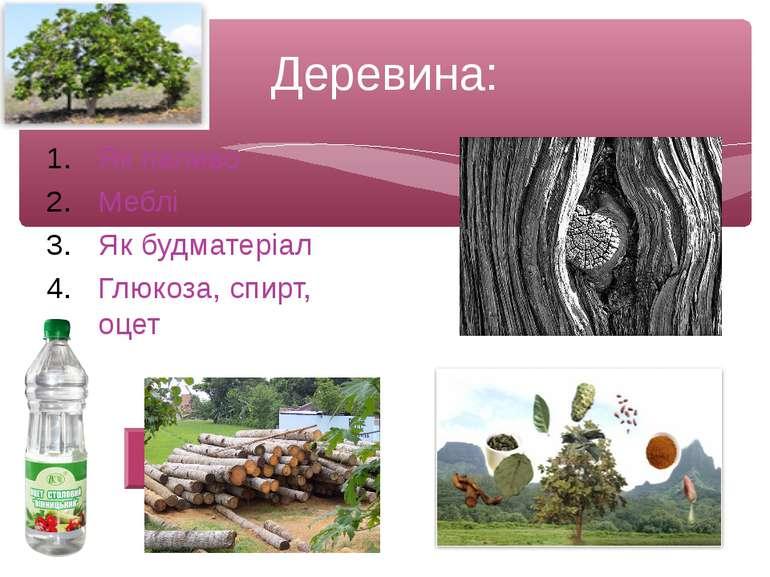 Деревина: Як паливо Меблі Як будматеріал Глюкоза, спирт, оцет