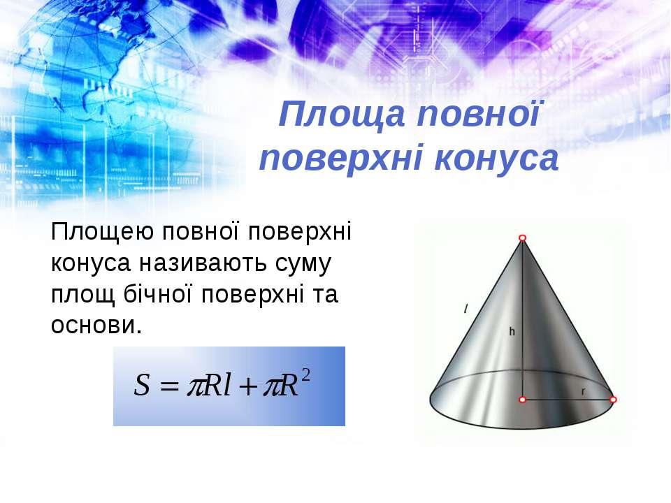 Площа повної поверхні конуса Площею повної поверхні конуса називають суму пло...
