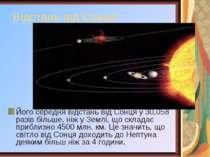 Відстань від Сонця Його середня відстань від Сонця у 30,058 разів більше, ніж...