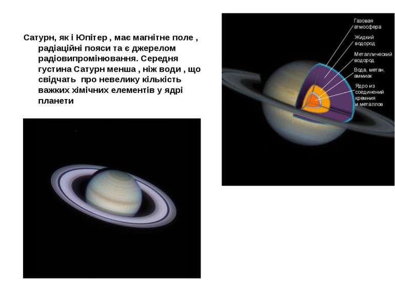 Сатурн, як і Юпітер , має магнітне поле , радіаційні пояси та є джерелом раді...