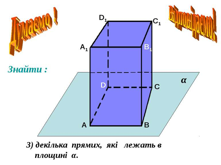 А А1 В В1 С С1 D D1 3) декілька прямих, які лежать в площині α. α Знайти :