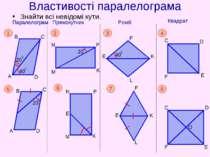 Властивості паралелограма Знайти всі невідомі кути.