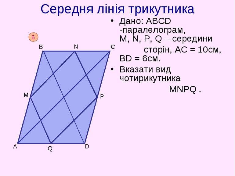 Середня лінія трикутника Дано: АВСD -паралелограм, M, N, P, Q – середини стор...