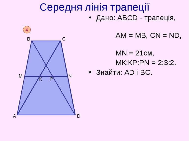 Середня лінія трапеції Дано: АВСD - трапеція, АM = МВ, СN = ND, МN = 21см, МК...