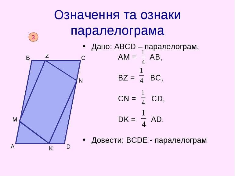 Означення та ознаки паралелограма Дано: АВСD – паралелограм, АМ = АВ, BZ = BC...