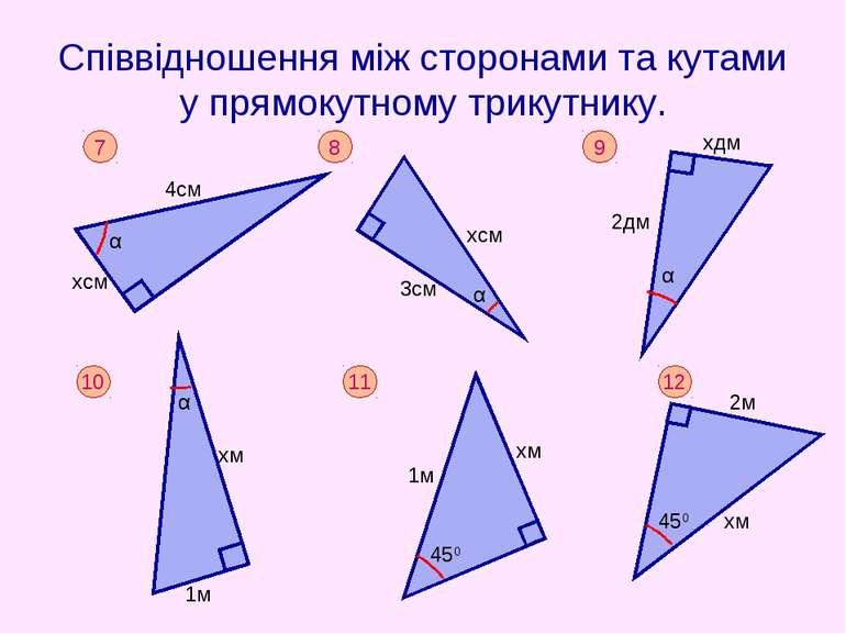 Співвідношення між сторонами та кутами у прямокутному трикутнику.