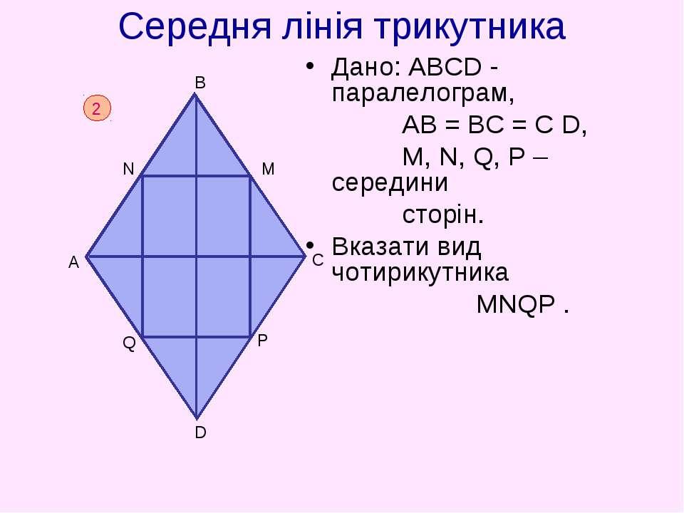 Середня лінія трикутника Дано: АВСD - паралелограм, АВ = ВС = С D, M, N, Q, P...