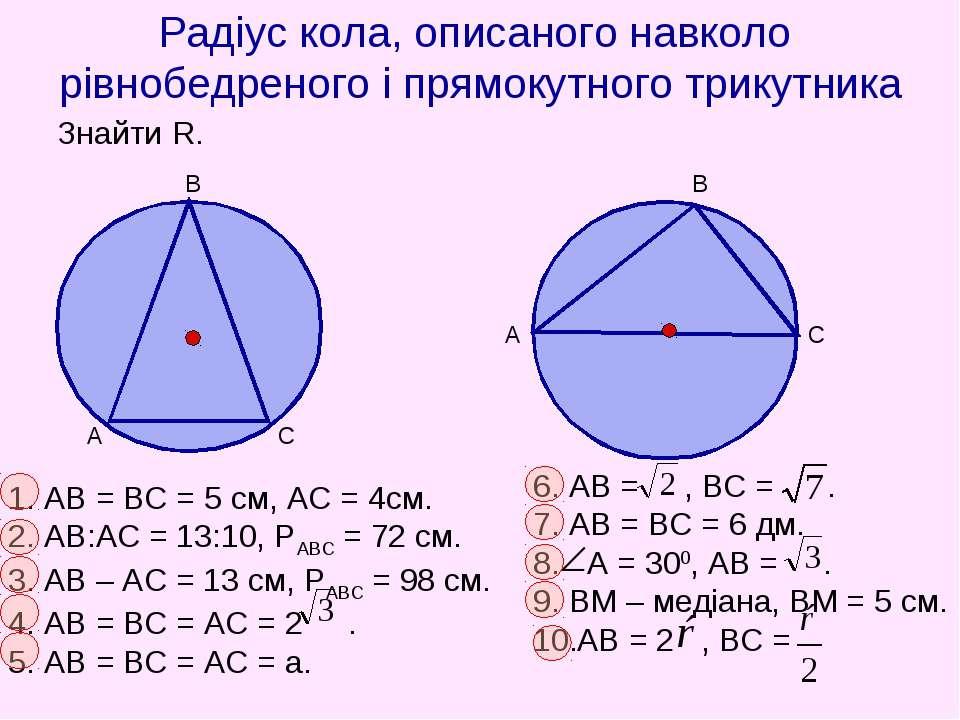 Радіус кола, описаного навколо рівнобедреного і прямокутного трикутника Знайт...