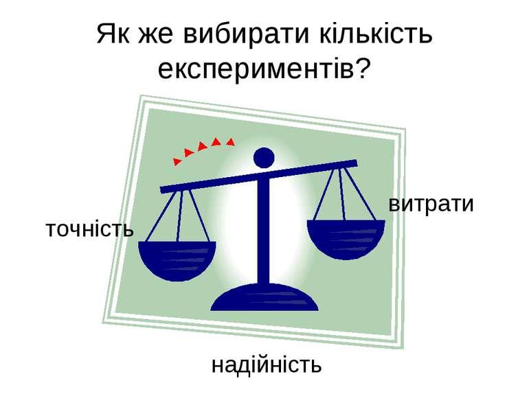 Як же вибирати кількість експериментів? точність витрати надійність