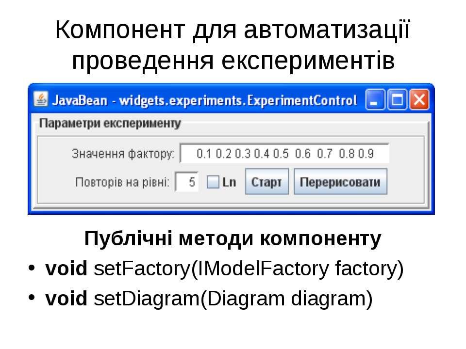 Компонент для автоматизації проведення експериментів Публічні методи компонен...