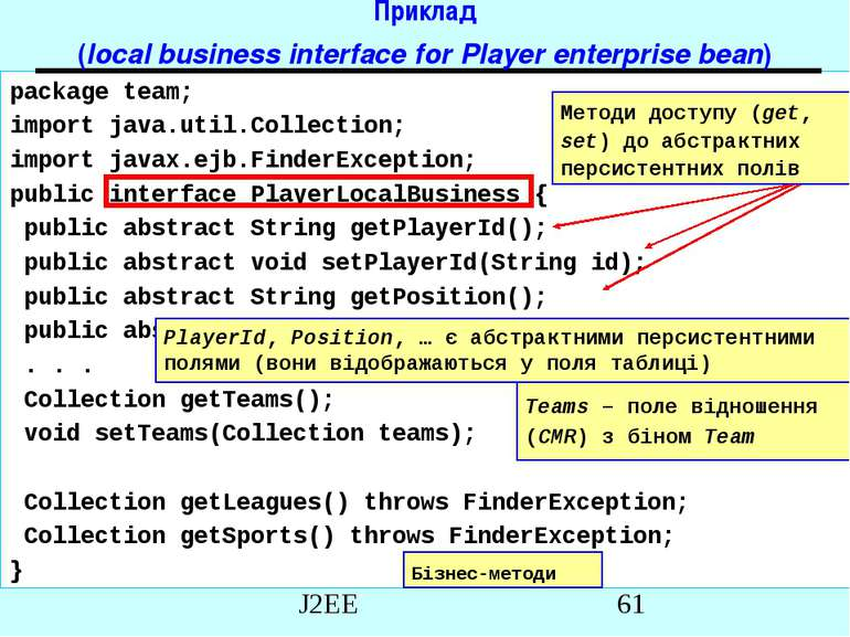 Приклад (local business interface for Player enterprise bean) package team; i...