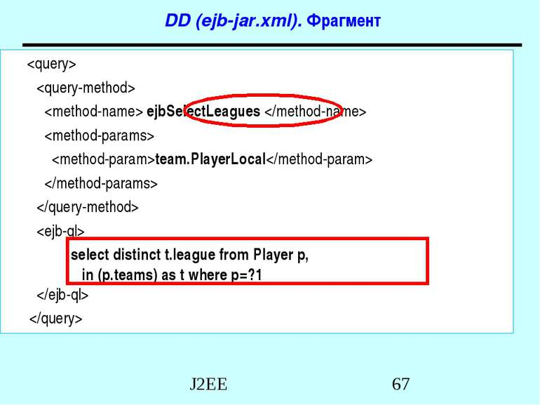 DD (ejb-jar.xml). Фрагмент ejbSelectLeagues team.PlayerLocal select distinct ...